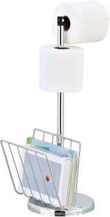 Freestanding Toilet Roll Holder - Stylish & Practical Design by Pristine (Magazine Holder)