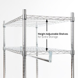 Heavy Duty Chrome Clothes Rail With Shelves