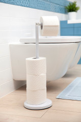 White Freestanding Toilet Roll Holder