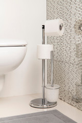 Freestanding Toilet Roll Holder with Brush