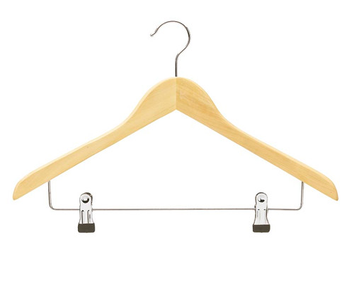 Single Combination Wooden Hanger with Adjustable Clip Bar