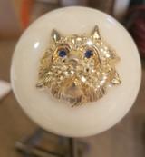 3D Rhinestone Cat Head Brooch Shift Knob