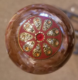 Vintage Stained Glass Brooch Brown Pearl Shift Knob