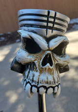 Van Chase Piston Bone/Silver Skull Shift Knob