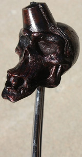"""Blood Stone"" Distressed Red Fez Norm Skull Shift Knob"