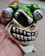Van Chase Jester Skull - Bone/Green Hat Shift Knob