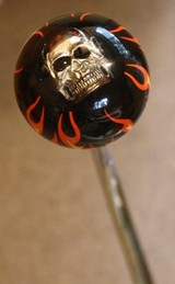 Flame Ball Shift Knob w/Skull Embedment