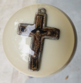 Antique Holy Cross pendant inside Ivory color shift knob