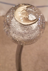 Crescent Moon in Silvery Glitter Shift Knob