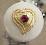 Vintage Red Ruby Heart Brooch Shift Knob