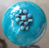Small Turquoise Pearl Beaded Cross Shift Knob