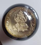 India God Lord Ganesha Gold Coin Shift Knob