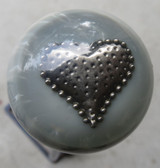Pearl Grey Heart Brooch Shift Knob