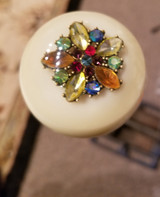 Antique Multi-Color Rhinestone Brooch Shift Knob