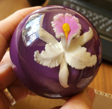 Gorgeous purple shift knob with 3D Orchid Flower embedded deep inside