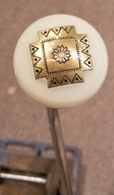 Golden Southwest Style Etched Square Cross Shift Knob
