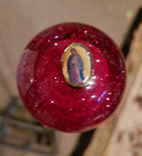 Vintage Guadalupe Charm RED Glitter Flake Shift Knob