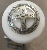 Christian (ichthys) Cross Shift Knob in White