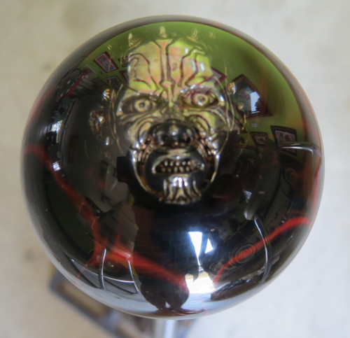 Darth Maul - Red/Black splash shift knob with Pewter 3D Darth embedded