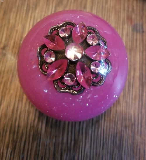 Vintage Pink Sparkle Brooch Shift Knob