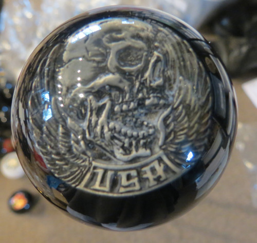 Pewter Biker USA Skull Shift Knob