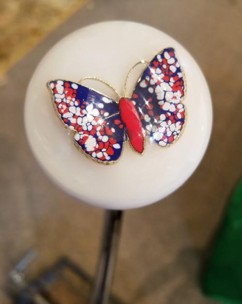 Enameled Butterfly Wings White Shift Knob