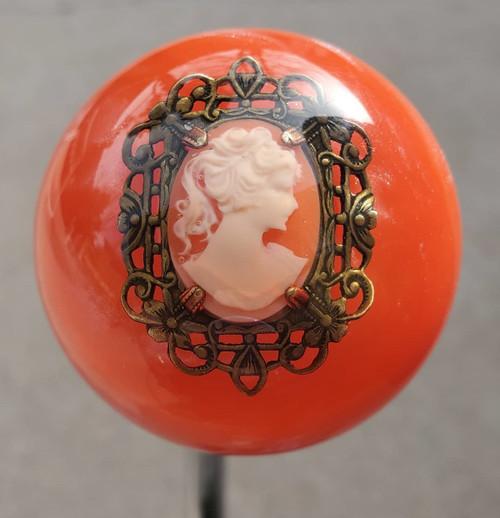 Vintage CAMEO Girl Brooch Orange Pearl Shift Knob