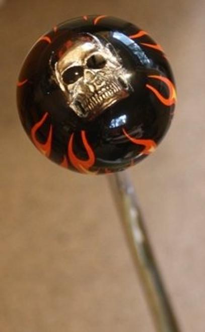 Flame Ball Shift Knob w/Skull Embedment