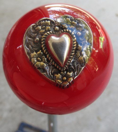 Red Floral Concho Heart Shift Knob