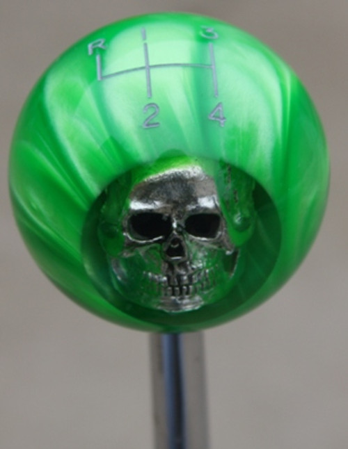 HURST 4 Speed 4RUL- Green Pearl Skull Shift Knob