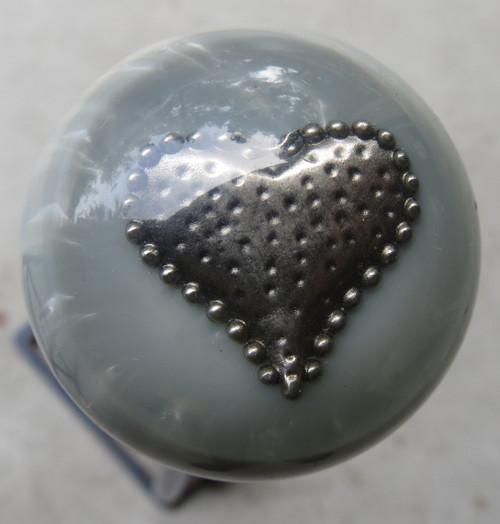 Pearl Grey Heart Brooch Shift Knob