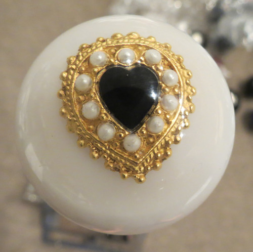 Vintage Pearl & Black Stone Heart Brooch Shift Knob