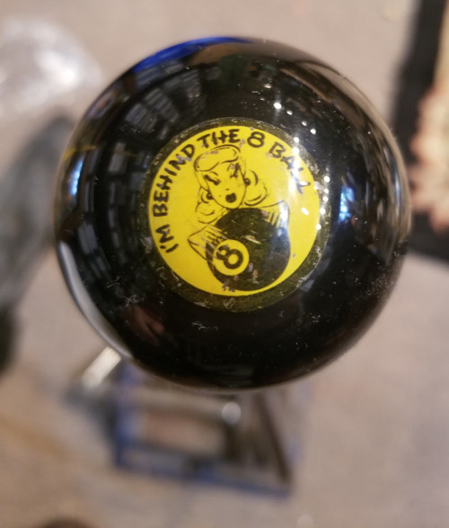 """I'M BEHIND THE 8-BALL""  YELLOW Vintage Button Shift Knob"