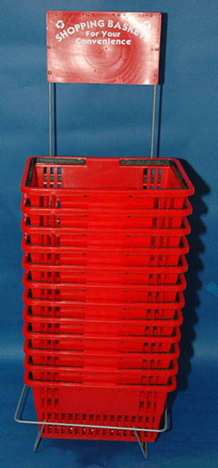 Set of 12 Shopping Baskets with Stand and Signage