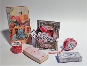 Kit - Haberdashery no 3,sewing box,ribbon,button cards,poster,