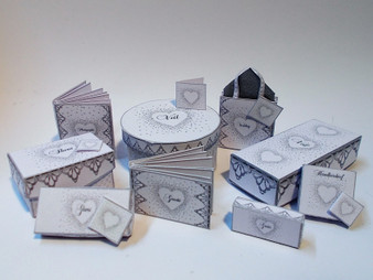 Download  - Wedding Hat/veil box, shoe,glove Box Kit-Silver Heart