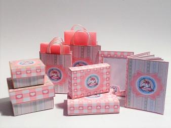 Kit - Baby Unicorn - pink boxes,bags, album & photo frame