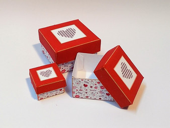 Kit - Valentine Square Boxes Red & White