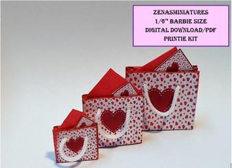 Download -1:6 Valentine heart gift bag set