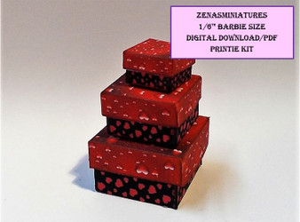 Download -1:6 Valentine square boxes -Black & red
