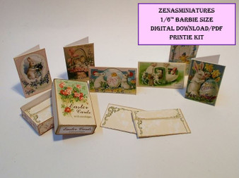 Download -1:6 Box of Easter Cards - Vintage Style