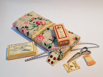 Haberdashery Set #2,fabric,button card, hat pin box,scissors