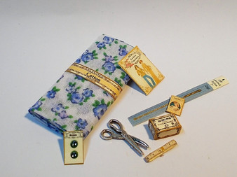 Haberdashery Set #3,fabric,button card, zip,pattern,scissors