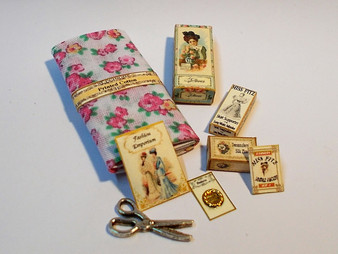 Haberdashery Set #5,fabric,button card, pattern,glove box,pins,