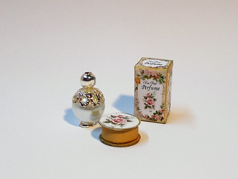 KIT - Rose Petal Bottle & Box plus powder puff box
