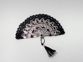 Ladies Silver fan with black lace and tassel