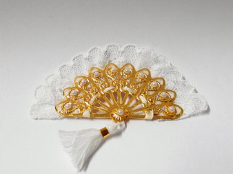 Ladies Gold fan with white lace and tassel