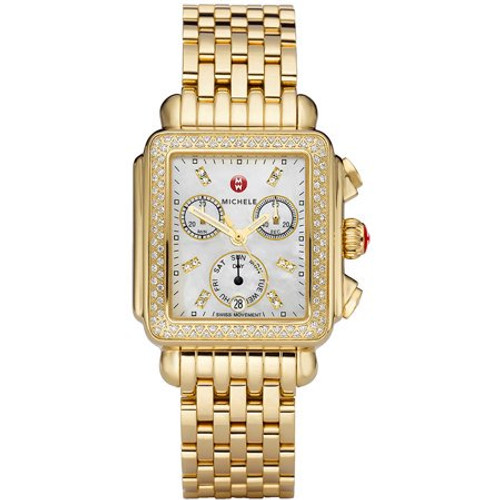 Michele  Deco Gold Diamond, Diamond Dial Watch  MWW06P000100