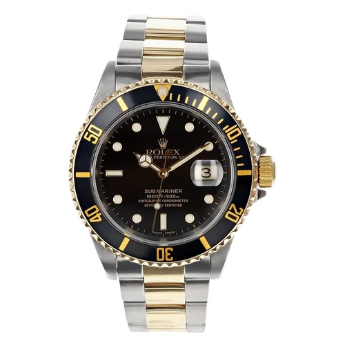 Rolex Pre Owned Men's 40mm Two Tone Submariner Black 16613 #10551