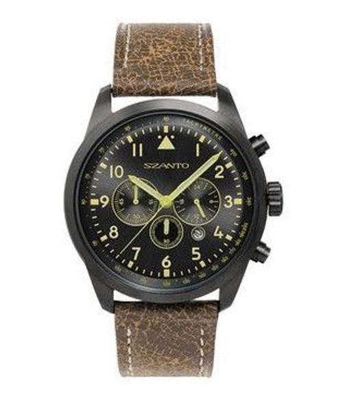 Szanto Men's  2200/2250 Series Black Dial Black IP Steel Leather Strap Chronograph Watch 2253